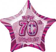 Palloncino rosa a forma di stella per compleanno di 70 anni