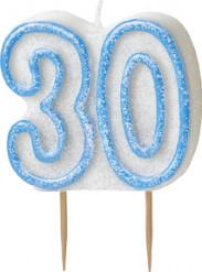 Candelina 30 anni blu