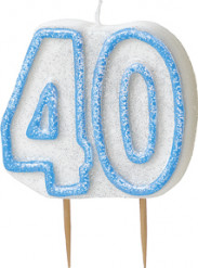 Candelina 40 anni blu
