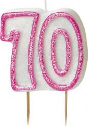 Candelina 70 anni rosa