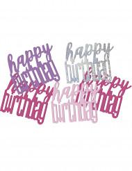 Coriandoli Happy Birthday di colore rosa e grigio