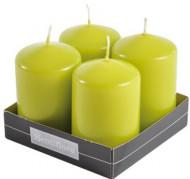 4 candele cilindriche verdi