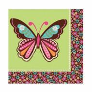 16 tovaglioli di carta 33 x 33 cm con farfalla Hippie Chick