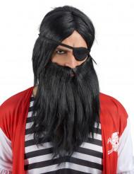 Parrucca con barba nera per adulto
