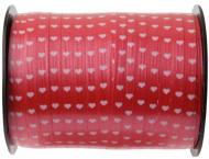 Nastro per pacchi regalo rosso con cuoricini bianchi