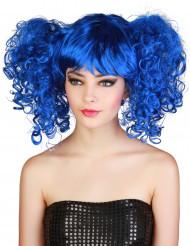 Parrucca blu da donna con boccoli e frangia