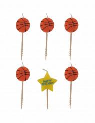 6 candele basket più scritta happy birthday