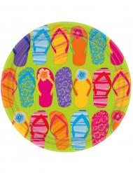 Set di 8 Piatti di carta colorati da 27 cm con motivo infradito