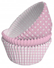 75 pirottini di carta rosa e bianca per cupcake