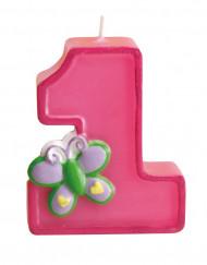 Candela 1 anno rosa bambina
