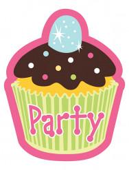 8 cartoncini di inviti Cupcake compleanno