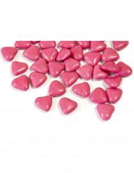 Mini confetti di cioccolato a forma di cuore colore fucsia