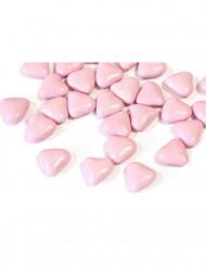 Confetti di cioccolato a forma di cuore color rosa chiaro