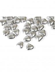 Confetti a forma di mini cuori al cioccolato di colore argento