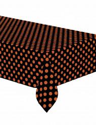 Tovaglia a pois arancione in plastica nera