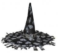 Cappello strega nero e grigio per Halloween