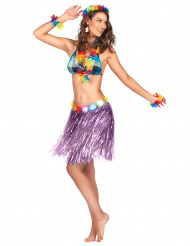 Gonna hawaiana corta color viola per adulto