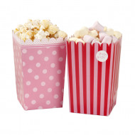 Lotto di 8 scatole per pop corn rosa e rosse