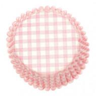 54 pirottini per cupcakes a quadri rosa e bianchi
