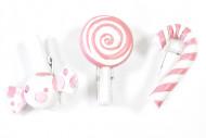 6 mollette con caramelle rosa