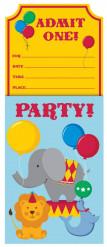 8 biglietti d'invito a tema con animali da circo