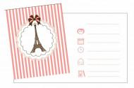 8 Biglietti d'invito con buste Tour Eiffel Parigi