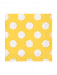 16 tovaglioli piccoli di carta gialli con puntini bianchi di 25 x 25 cm