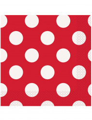 16 tovaglioli di carta rossi a pois bianchi 33 x 33