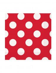 16 tovagliolini di carta Rossi a pois bianchi 25 x 25 cm
