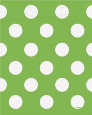 8 sacchetti regalo di colore verde a pois bianchi