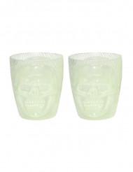 2 bicchieri fosforescenti con teschio che sorride