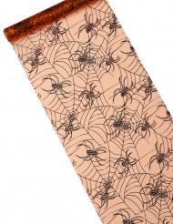 Tovaglia arancio in organza con stampa ragni Halloween