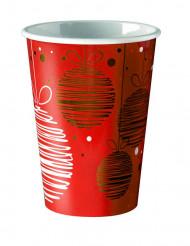 8 bicchieri di carta rossi con palle di Natale