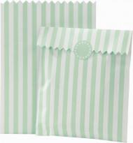 10 sacchetti di carta a righe bianche e verde menta