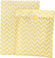 10 sacchetti a motivo zig zag in carta gialla e bianca
