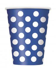 6 Bicchieri blu a pois bianchi