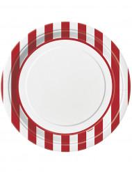 8 piatti di carta bianchi a righe rosse diametro 23 cm