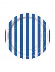 8 piccoli piatti di carta a strisce bianche e blu da cm 17