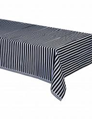 Tovaglia di plastica con motivo a righe nere e bianche 137 x 274 cm