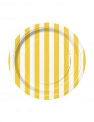 8 Piattini di cartone a righe gialle e bianche 17 cm