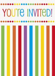 8 inviti per compleanno a strisce con buste