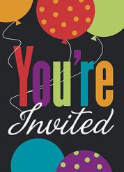 8 Inviti con buste Happy Birthday