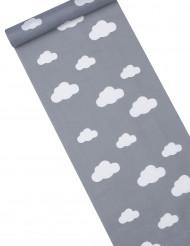 Copri tavolo in tessuto grigio con nuvole bianche misure 28 cm x 5 m