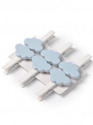 6 mollette bianche con nuvole blu