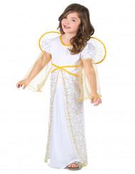 Costume angelo bianco e dorato per bambina