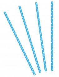 24 cannucce blu turchese a pois bianchi