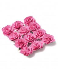 12 Rose da appuntare fucsia