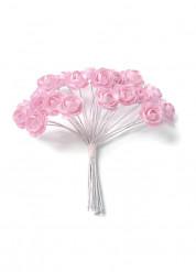 24 piccole rose di carta con gambo
