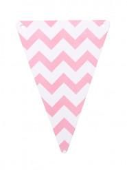 5 Bandierine zig zag rosa di cartone