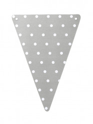 5 bandierine di carta grigie a pois bianchi